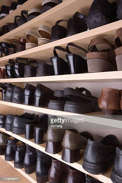 Closet Shoes Organization with Shelves and Racks in Storage Room