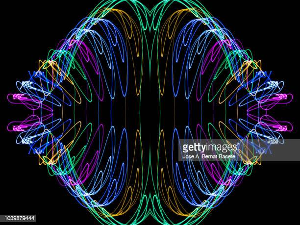 Close-up abstract pattern of intertwined colorful light beams of color green, light blue and pink colored on a  black background.