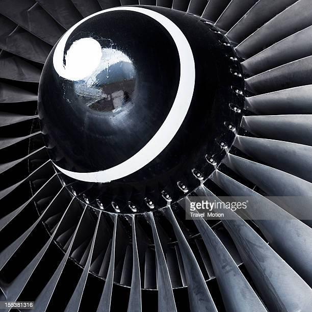 Close-up aircraft jet engine turbine