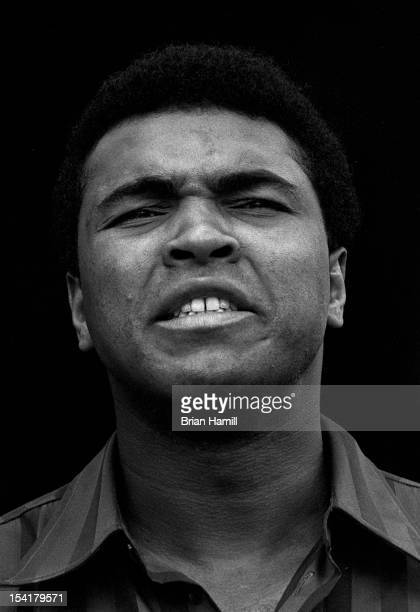 Closeup American heavyweight boxer Muhammad Ali during training at the 5th Street Gym Miami Florida 1971 Ali was in training for an upcoming bout...