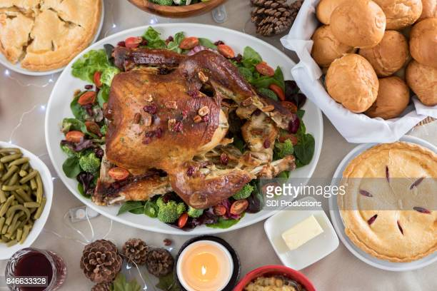 Closeup and bird's eye view of a prepared Christmas dinner meal