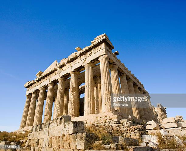 close-up angled view of the parthenon at acropolis, athens - parthenon athens stock pictures, royalty-free photos & images