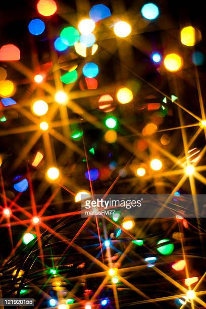 Closeup artfully blurred shot of Christmas lights