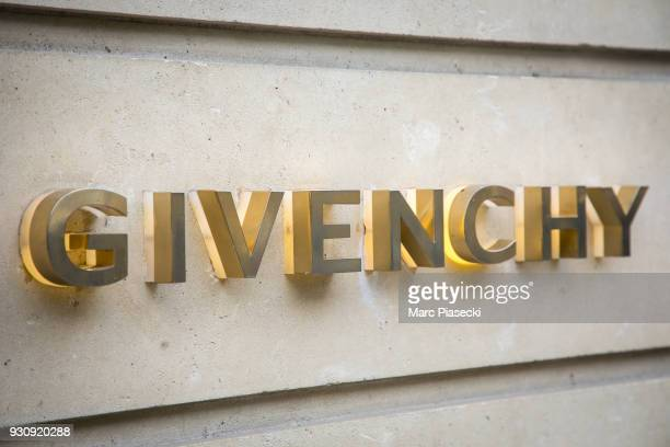 A closeup at the 'Givenchy' sign at the store entrance on Avenue Montaigne on March 12 2018 in Paris France Hubert de Givenchy the French fashion...