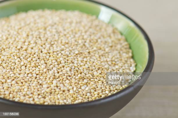 Close-up Black Bowl of Uncooked Quinoa