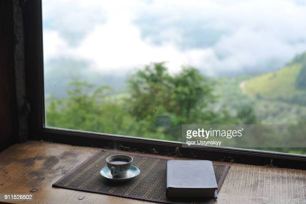 Close-up book and coffee against the beautiful view from the window