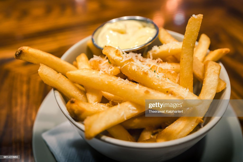 Close-up bowl of french fries with mayonnaise dipping : Stock Photo