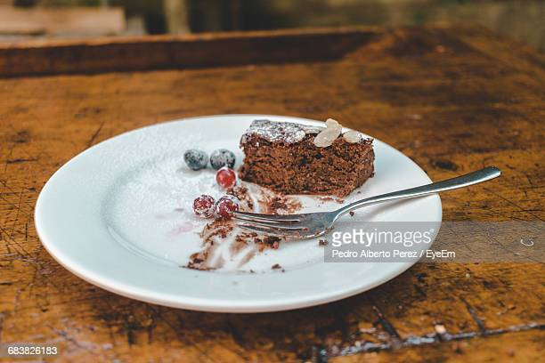 Close-Up Chocolate Cake In Plate On Table