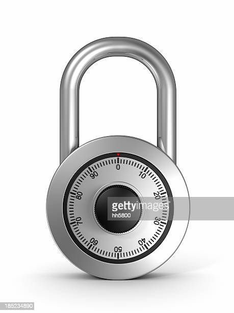 Close-up combination lock locked with dial set to 0 zero