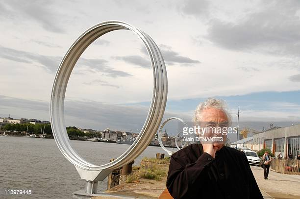 Closeup Daniel Buren artist before his new work Les Anneaux in Nantes France on June 01 2007Daniel Buren a artist sculptor and famous international...