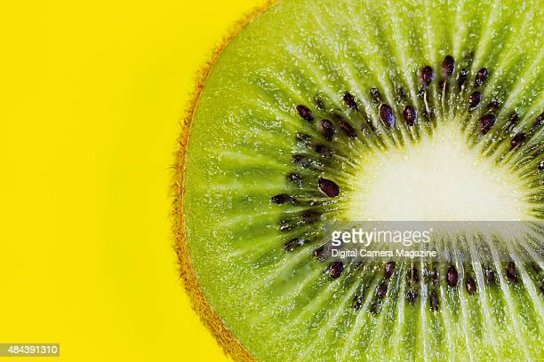 Closeup detail of a sliced kiwi fruit taken on July 4 2014
