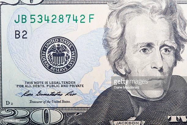 A close-up detail of a US twenty dollar bill