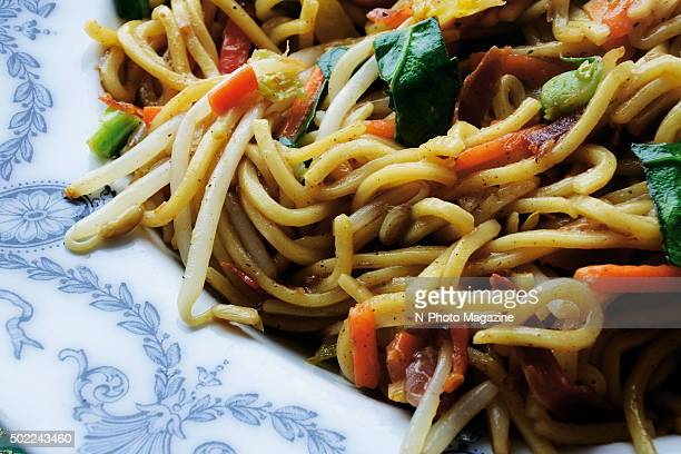 Closeup detail of an Asian noodle dish taken on May 2 2015