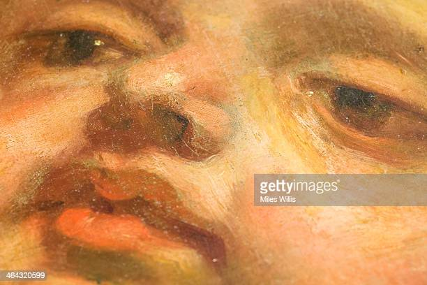 Close-up detail of the 1634 Rubens ceiling during a conditioning survey at Banqueting House on January 21, 2014 in London, England. Flemish artist...