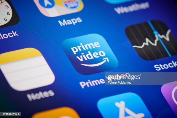 Close-up detail of the Amazon Prime Video app icon on an Apple iPhone 12 Pro smartphone screen, on November 11, 2020.