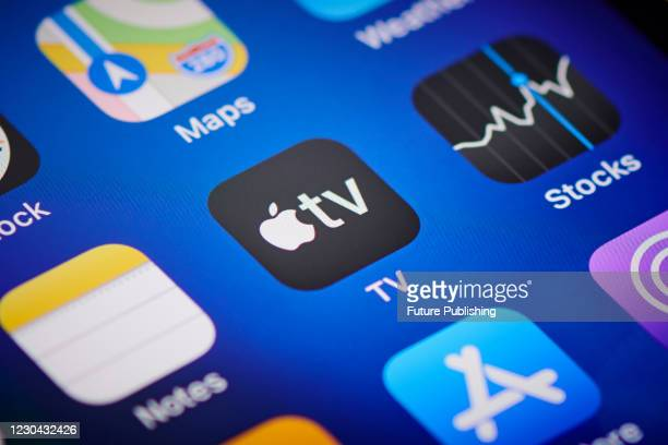 Close-up detail of the Apple TV app icon on an Apple iPhone 12 Pro smartphone screen, on November 11, 2020.