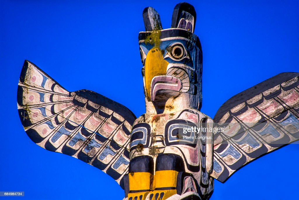 Close Up   Detail Of Thunderbird House Post, In Stanley Park, Vancouver,  British Columbia, Canada