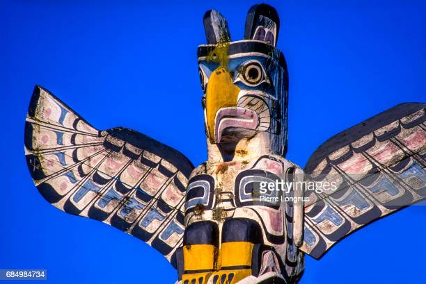 Close-up - Detail of Thunderbird House Post, in Stanley Park, Vancouver, British Columbia, Canada