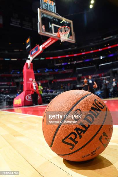 A closeup detail view of the Official NBA Spalding basketball on the court with the basket stanchion in the background before the Portland Trail...
