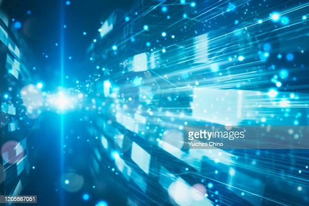 closeup digital data with speed motion - 人工知能 ストックフォトと画像
