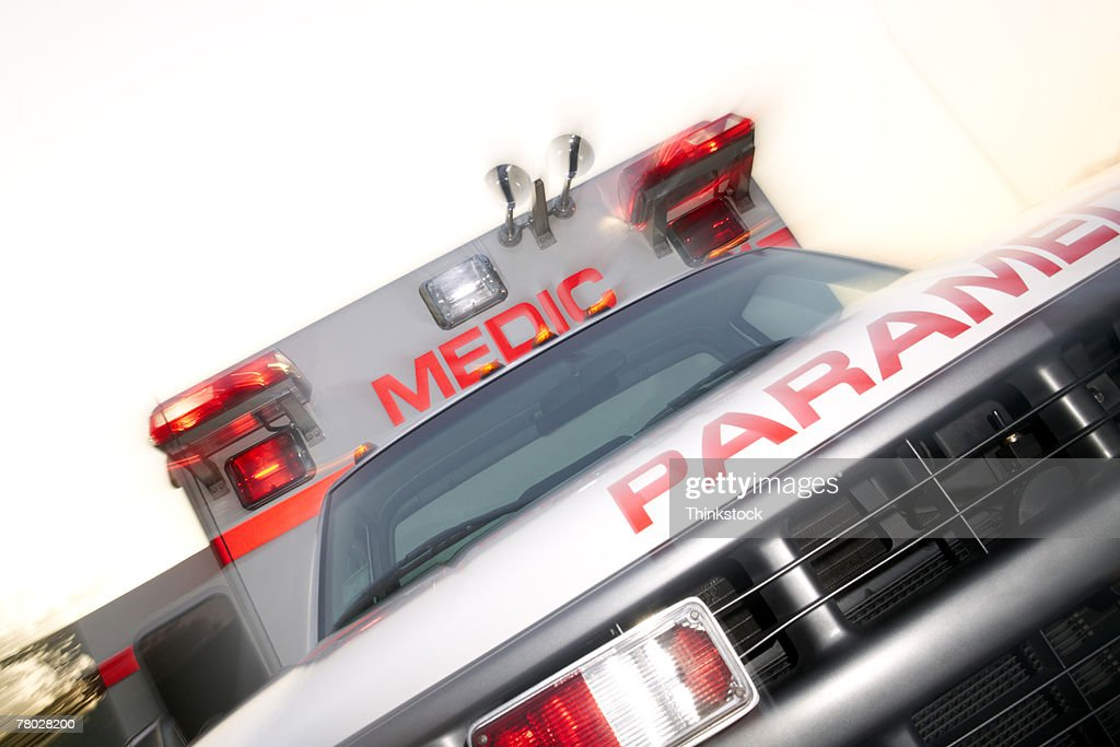 Close-up dutch angle of the front of an ambulance : Stock Photo