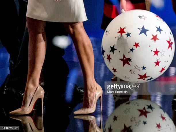 Close-up former model Melania Trump's legs onstage during the Republican National Convention at Quicken Loans Arena, Cleveland, Ohio, July 21, 2016.