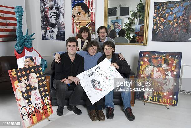 Closeup French artists supports President Barack Obama at Dorothy's Galery In Paris France On December 18 2008First rank caricaturists Tignous Cabu...