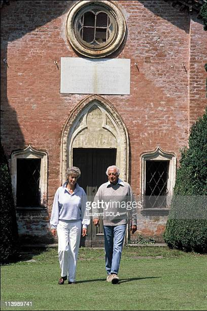 Closeup Giovanni Agnelli and family In Turin Italy On July 16 1986With wife Marella