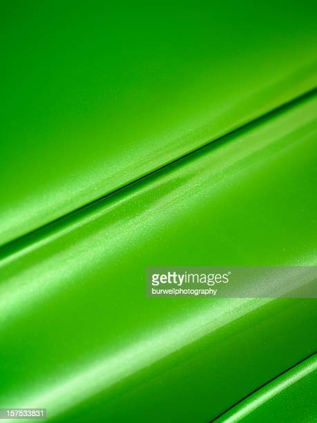 Close-up Green Car Hood and fender, background
