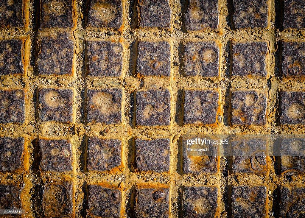 Close-up Grunge Metal Manhole BACKGROUND : Stock Photo