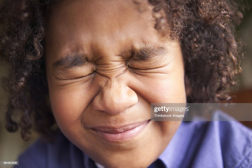 Close-up head shot of pre-teen boy : Stock Photo