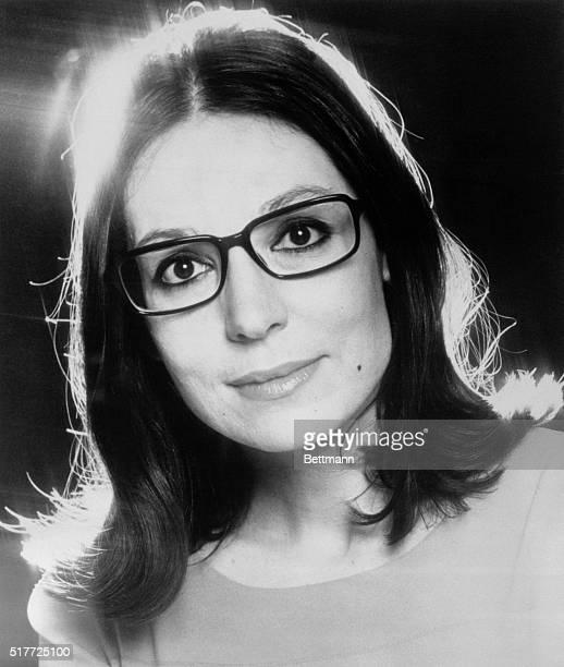 Closeup headshot of singer Nana Mouskouri. Photograph, 1977.