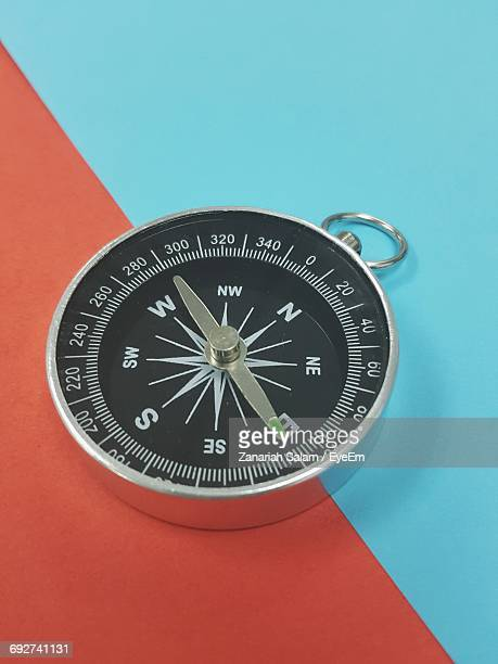 Close-Up, High Angle View Of Compass