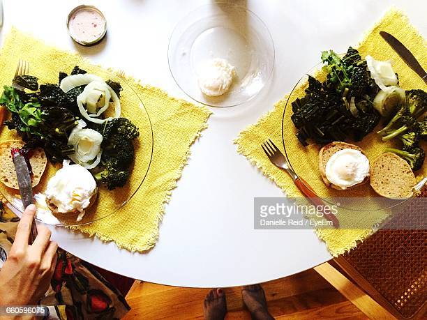 close-up high angle view of food on table - danielle reid stock pictures, royalty-free photos & images