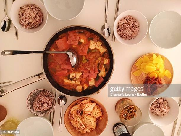 close-up high angle view of food on table - korean food stock pictures, royalty-free photos & images