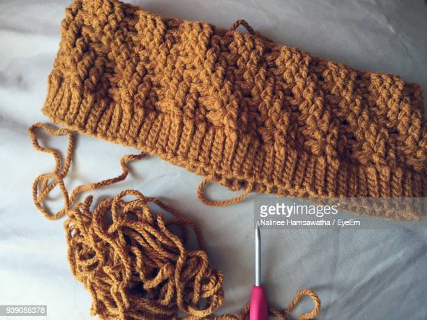 Close-Up High Angle View Of Knitted Purse