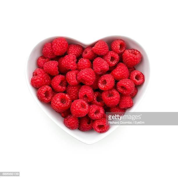 Close-Up High Angle View Of Raspberries