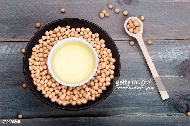 Close-Up High Angle View Of Soy Beans And Oil