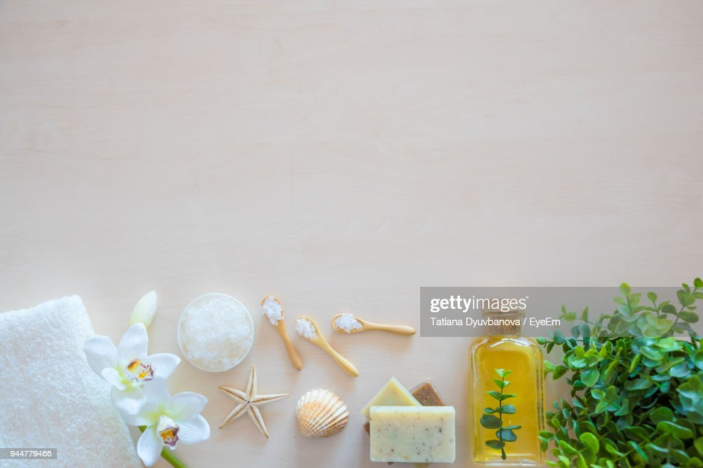 Close-Up High Angle View Of Spa Equipment On Table : Stock Photo