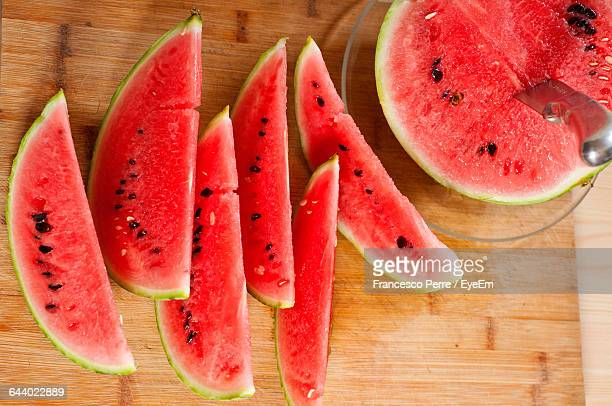 Close-Up High Angle View Of Watermelon Slices