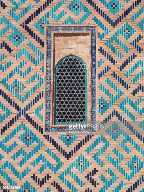 close-up image of tiled wall of mausoleum of khoja ahmed yasawi in turkistan city, kazakhstan - arabic script stock pictures, royalty-free photos & images