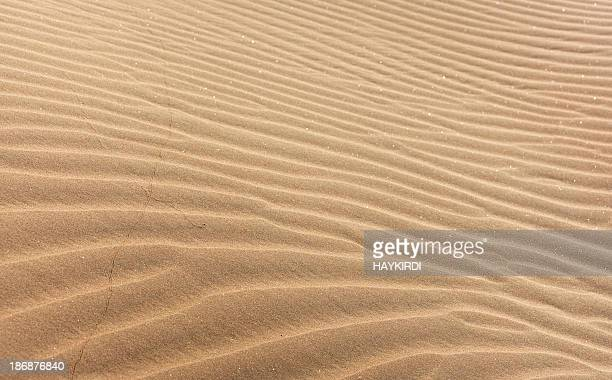Close-up image of waves of light brown sand