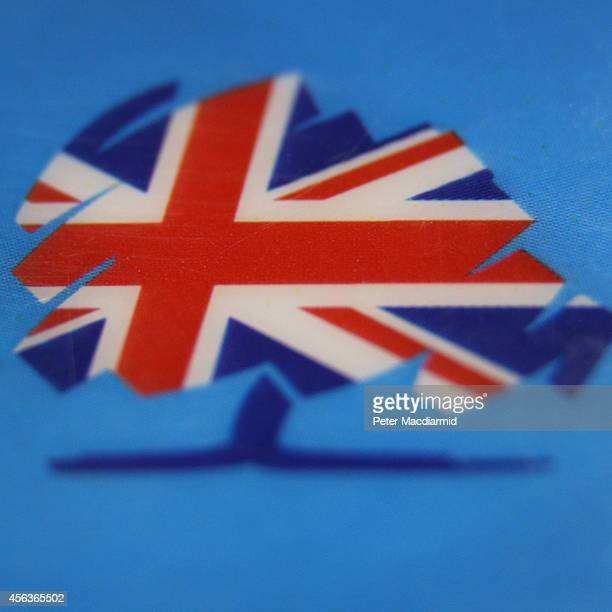 Close-up image shows a party logo on a security badge at the Conservative party conference on September 29, 2014 in Birmingham, England. The...