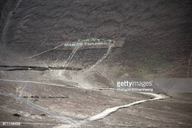 Close-up Landscape view of Magnetic Hill, Ladakh, India