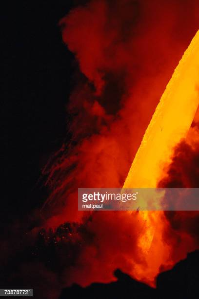 close-up lava flowing from a lava tube into pacific ocean, hawaii, america, usa - media_in_honolulu,_hawaii stock pictures, royalty-free photos & images
