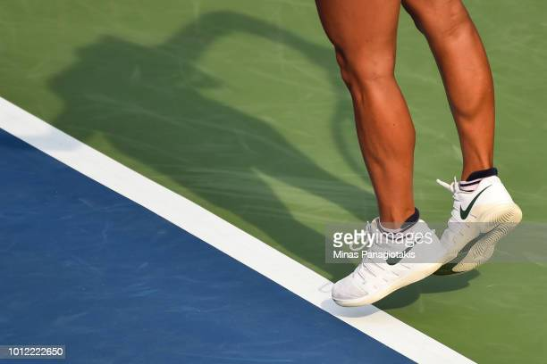 A closeup look at Barbora Strycova's Nike Shoes as she serves against Magdalena Rybarikova of Slovakia during day one of the Rogers Cup at IGA...