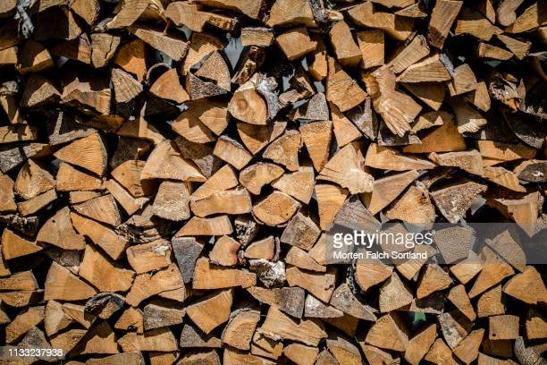 a close-up look of a woodpile in bumthang, bhutan - pith stock photos and pictures
