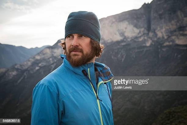 closeup man explores mountains - メキシコ北部 ストックフォトと画像