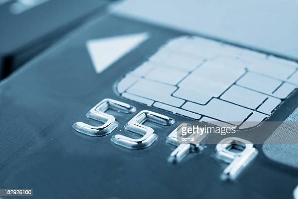 Close-Up Metallic Numbers on a Chip Card