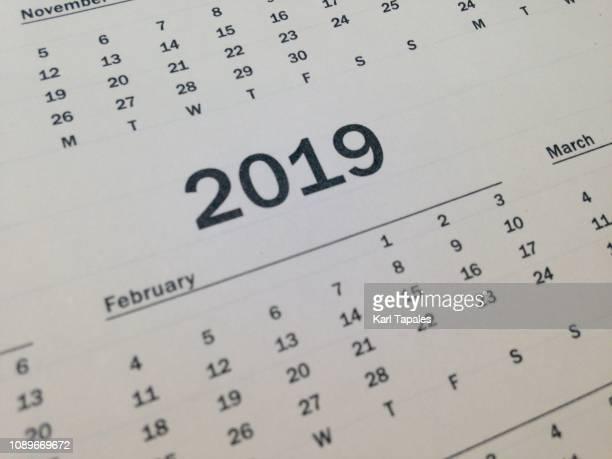 A close-up of 2019 calendar